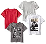 Amazon Brand - Spotted Zebra Boys' Big Kid 4-Pack Short-Sleeve T-Shirts, Young Boss, Medium (8)