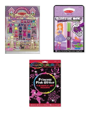 Melissa and Doug (Girls) On the Go Set of 3 Puffy Sticker Dress Up, Surprize Ink Fashion and Pink Glitter Princess Scratch ()