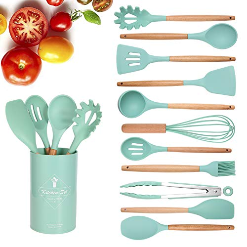Kitchen Utensil Set, Silicone Cooking Utensils 12 Pcs Kitchen Tools with Natural Wooden Handles for Home Household Apartment Essentials Nonstick Cookware Tongs Spatula Spoon Set (Green)