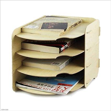 TX ZHAORUI Documento Titular Oficina Madera Escritorio Archivo Pantalla Caja De Almacenamiento Vertical Titular De Archivo
