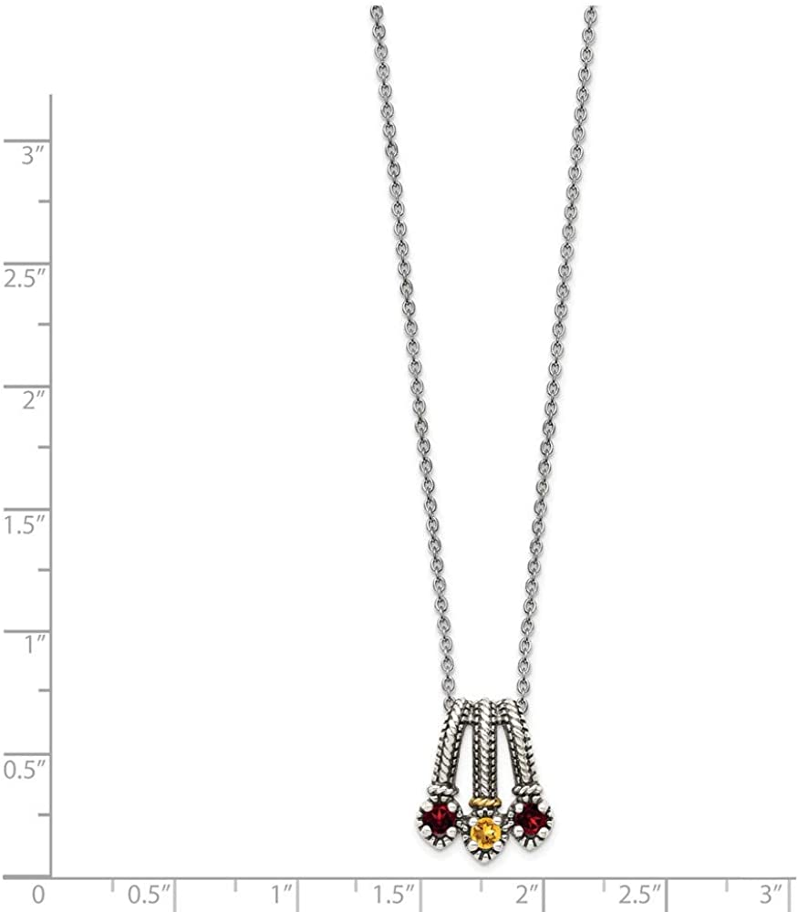 925 Sterling Silver 14k Accent Red Garnet Yellow Citrine Chain Necklace Pendant Charm Gemstone Fine Jewelry Gifts For Women For Her