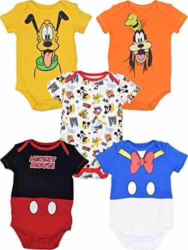 Disney Baby Unisex 5 Pack Bodysuits — Mickey Mouse, Lion King & Pixar