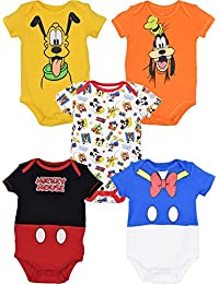 Baby Boy Girl 5 Pack Bodysuits Mickey Mouse Donald Duck Goofy Pluto