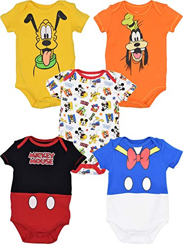 Disney Baby Boy Girl 5 Pack Bodysuits Mickey Mouse Donald Duck Goofy Pluto 0-3 Months