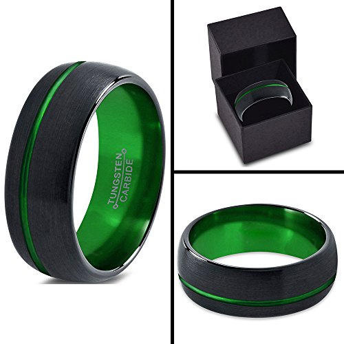 Tungsten Wedding Band Ring 8mm for Men Women Green Black Domed Brushed Polished Offset Line Lifetime Guarantee