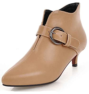 ec76dbf02ba08 Aisun Women s Short Boots with Buckle Strap - Trendy Outdoor Pointed Toe -  Comfort Low Stiletto
