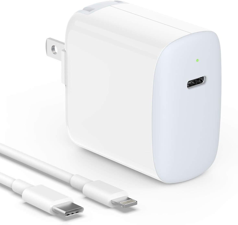 18W USB C Fast Charger for iPhone 11, 11 Pro, 11 Pro Max, XR, Xs, Xs Max, X, 8, 8 Plus, iPad Pro 12.9 Gen 1/2, iPad Pro 10.5, iPad Air 3, iPad Mini 5, Foldable Plug, LED Indicator, with Charging Cable