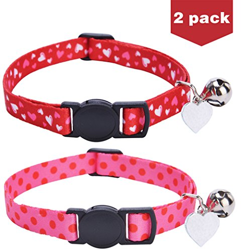 2 Set Embroidered Breakaway Cat Collar with Bell and Heart Charm