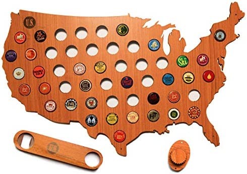 US of Beer – Bottle Cap Map with Bottle Opener and Wall Hanger Customizable Quality USA Beer Bottle Cap Holder