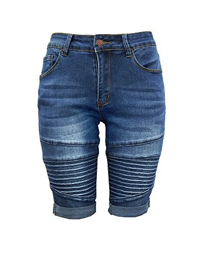 Xudom Womens Middle Rise Elastic Denim Shorts Knee Length with Pockets Curvy Bermuda Jeans Dark Blue ()
