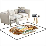 "Anti Skid Rugs Watercolor Illustration isolateon White backgrounThe Girl wi Book Dreaming About a Fairy Tale Story in The Book wich s 55""x75"""
