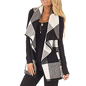 Mafulus Womens Vest Plaid Sleeveless Lapel Open Front Cardigan Sherpa Jacket with Pockets