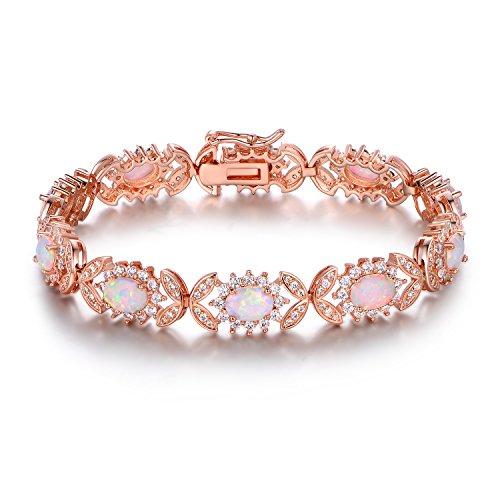 Gold Opal Bracelet - Barzel 18K Rose Gold Plated Created-Opal Tennis Bracelet