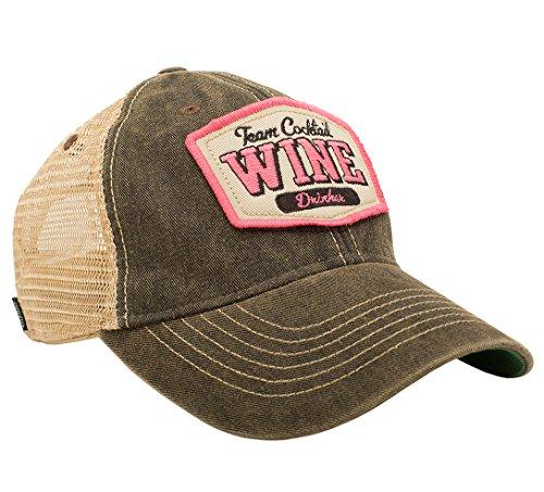 TEAM COCKTAIL Wine Drinker Mesh Trucker Hat - Black Hat (Black w/ Pink)
