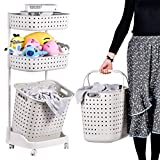 Rolling Storage Cart Rolling Laundry Sorter 3-Tier Basket Stand With 6 Side Hooks For Kitchen Bathroom Trolley Dirty Clothes Bag Washing Bin Home Office School Beauty Salon Utility Organizer Cart