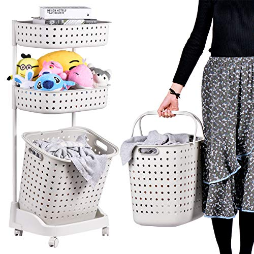 - Laundry Basket With Wheel Rolling Laundry Sorter 3-Tier Basket Stand With 6 Side Hooks For Kitchen Bathroom Trolley Dirty Clothes Bag Washing Bin Home Office School Beauty Salon Utility Organizer Cart