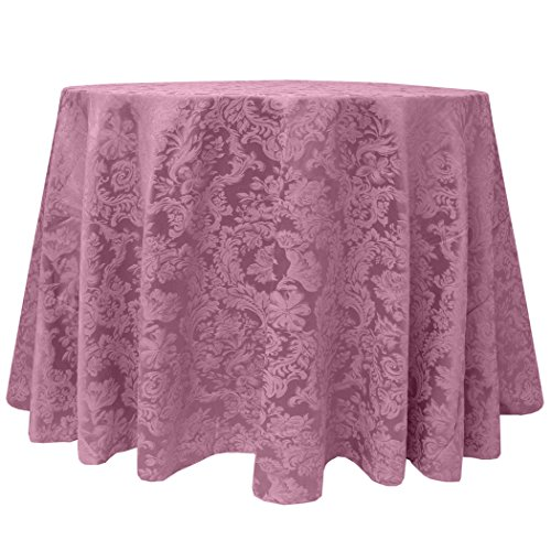 Ultimate Textile (3 Pack) Miranda 90-Inch Round Damask Tablecloth - Jacquard Weave, English Rose Pink