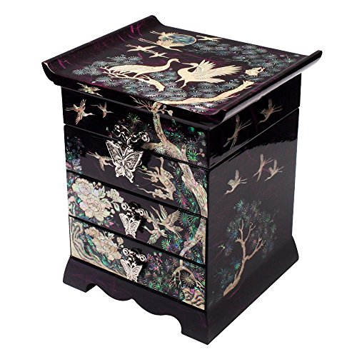 - Mother of Pearl Crane Bird and Pine Tree Design Black Wooden Jewelry Drawer Mirror Trinket Keepsake Treasure Gift Asian Lacquer Box Case Chest Organizer