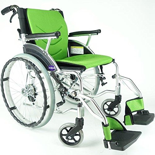 車椅子 車イス 車いす 『Beans(ビーンズ)』選べる全5色で新発売! 自走式 コンパクト 軽量 ノーパンクタイヤ バンドブレーキ 背折れ 自走用 介助 ミントライム F102-G B016U9PZ6I ミントライム ミントライム