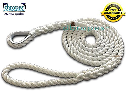 DBROPES 3 Strand Mooring Pendant Line 100% Nylon Rope with Stainless Steel Thimble. Tensile Strength 10400 Lbs. Made in USA . (White Nylon, 5/8 x 6)