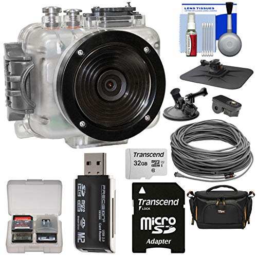 (Intova Connex 1080p HD Waterproof Video Action Camera Camcorder (200 ft/ 60m) with Video Cable (40m) + 32GB Card + Car Suction Cup & Dashboard Mounts + Case + Kit )