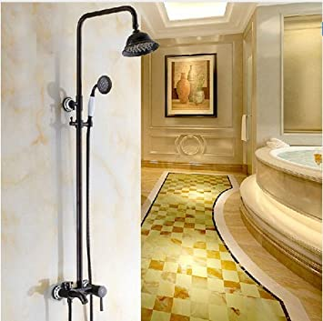 GOWE Euro Style Oil Rubbed Bronze Exposed Shower Mixer Valve Faucet Set 8u0027  Rainfall Brass