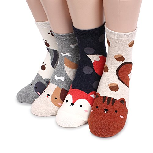 Animals Long Tails Socks (4-PACK) Squirrel Dog Fox Racoon JC (Racoon Tail)