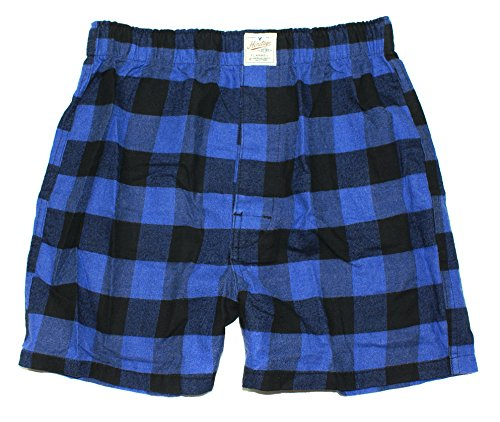 American Eagle Men's Heritage Flannel Boxer (X-Small, Blue Plaid)