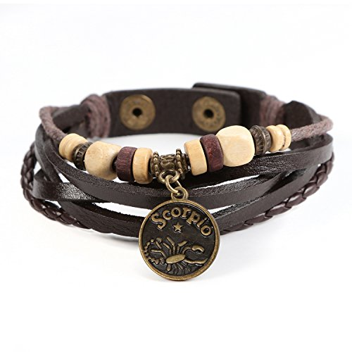 Lucky Handmade Natural Constellation Zodiac Sign Logo Genuine Real Leather Bracelet with Charms, Beads, Button, Adjustable Size, Gift for Him or for Her, Unisex (Scorpio - Brown Leather)