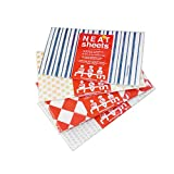 NEATsheets Disposable Adult Bibs with no Fuss Adhesive tabs   80-Count Variety Pack Features Blue Stripe, Grey Dot, Khaki, and Red & White Diamond Designs   Perfect for Home, Travel, and Gift Giving