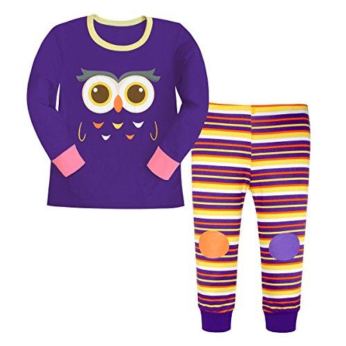 Attraco Mädchen Schlafanzug Süß Eule-Motiv Zweiteilig Streifen Pyjama Lang 2-3 Jahre