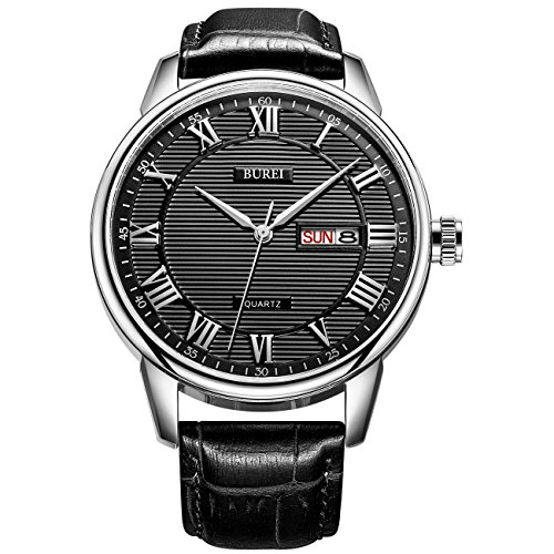 BUREI Mens Day Date Dress Wrist Watch Black Big Face with Silver Roman Numeral Hand Black Leather Strap