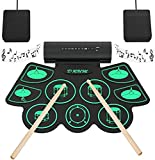 Electronic Drum Set Digital Roll-Up MIDI Drum Kit 9 Silicon Durm Pad Built-In Stereo Speaker with 2 Foot Pedal for…