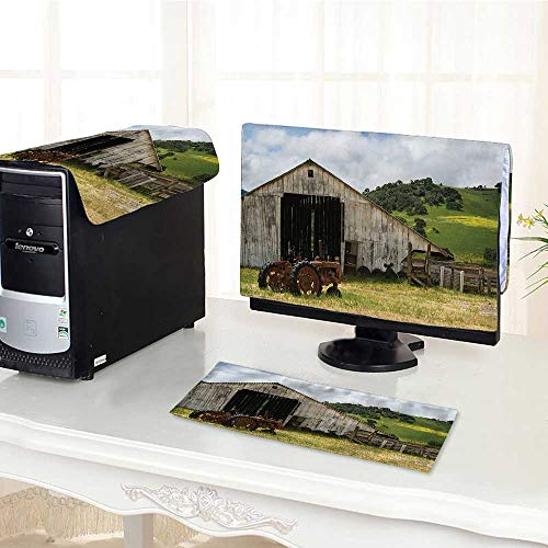 (Auraisehome Computer dust Cover Decor Collection Old Wooden Barn with Rusted Tractor on Hillside Enclosed with Wooden dust Cover 3 Pieces Set /29