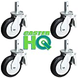 8'' X 2'' SCAFFOLD CASTER SET OF 4 WITH BRAKES - MOLD-ON-RUBBER WHEEL - METAL THREAD GUARDS INCLUDED - 2,000 LBS CAPACITY PER SET OF 4 - CasterHQ Brand