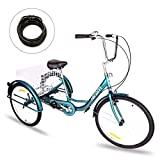 Hiram Adult Tricycle Trike Cruise Bike Three-Wheeled Bicycle with Large Size Basket for Recreation, Shopping, Exercise Men's Women's Bike (24inch/Midnight Green)