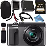 Panasonic Lumix DC-ZS70 DC-ZS70/S Digital Camera (Silver) + DMW-BLG10 Lithium Ion Battery + Sony 64GB SDXC Card + Small Carrying Case + Flexible Tripod + Micro HDMI Cable + Memory Card Wallet Bundle