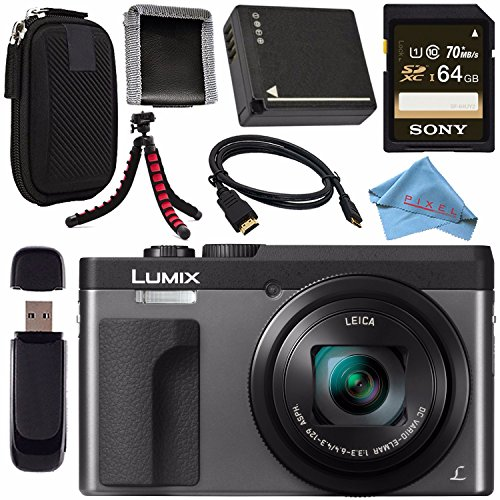 Panasonic Lumix DC-ZS70 DC-ZS70/S Digital Camera (Silver) + DMW-BLG10 Lithium Ion Battery + Sony 64GB SDXC Card + Small Carrying Case + Flexible Tripod + Micro HDMI Cable + Memory - Hdmi Panasonic Cable