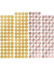 216 Stuks Gouden Stippenstickers, Stippenstickers, Verwijderbare Cirkels Muurstickers, Muursticker Dots, Muurstickers voor Kamerdecoratie (Goud, Roségoud)
