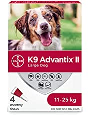 K9 Advantix II Flea and Tick Treatment for Large Dogs weighing 11 kg to 25 kg (24 lbs. to 55 lbs.) - 4 pack