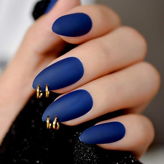EchiQ Anillo dorado mate azul oscuro Stiletto uñas postizas ovaladas almendra puntiagudas esmerilado cubierta completa punk estilo prensa en uñas postizas: ...