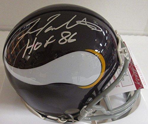 Vikings Fran Tarkenton Signed Riddell Throwback Mini Helmet Auto W/ Hof 86 - JSA - Fran Tarkenton Throwback Helmet
