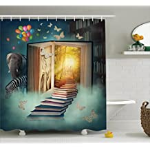 Ambesonne Fantasy House Decor Shower Curtain Set, Upstairs To The Magic Book Land Forest With Balloon Zebra Elephant Butterflies, Bathroom Accessories, 69W X 70L Inches,