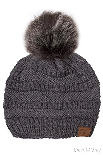 ScarvesMe CC Solid Ribbed Beanie With Fur Pompom (Dgrey/Dgrey) (Beanie Womens Solid)