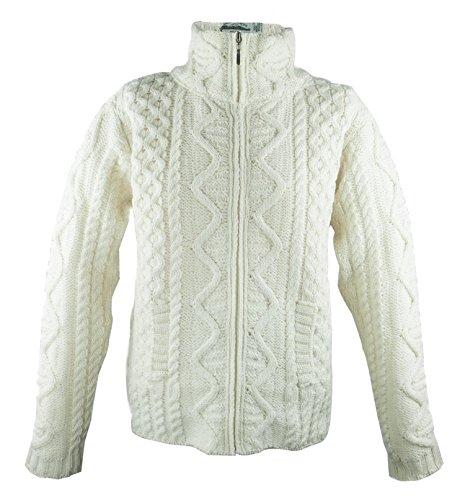 Aran Knit Sweaters - 100% Irish Merino Wool Aran Knit Zip Sweater with pockets by West End Knitwear, Ecru, Extra Large
