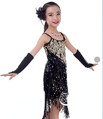 ZHANGQIAN Vestido de Baile Latino para niñas Niños Lentejuelas ...