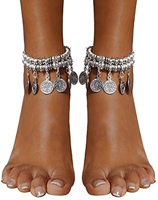 Bienvenu Hot Boho Silver Coin Anklet Bracelet Bohemian Tassel Barefoot Sandals Chain Jewelry