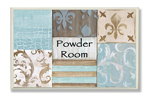 Blue Fleur De Lis - The Stupell Home Decor Collection Fleur De Lis Powder Room Blue, Brown and Beige, 12.5