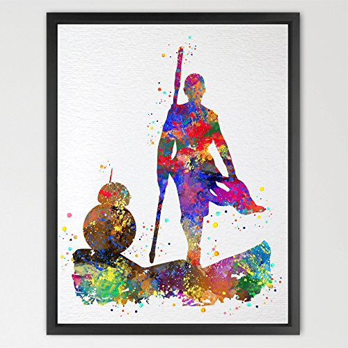 Dignovel Studios 8X10 Rey & BB8 Star Wars The Force Awakens Print Watercolor
