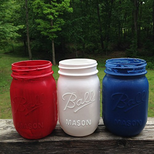 Hand Painted Patriotic Set of Three 16 Oz Mason Jars Red White and Blue